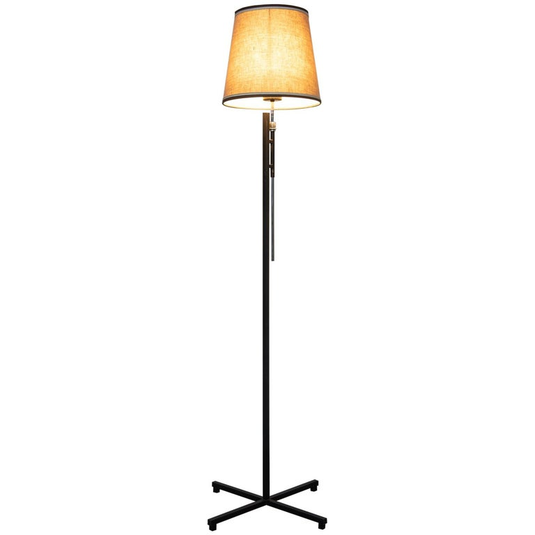 French Metal Floor Lamp, Adjustable Shade by Roger Fatus for Disderot, 1960s For Sale