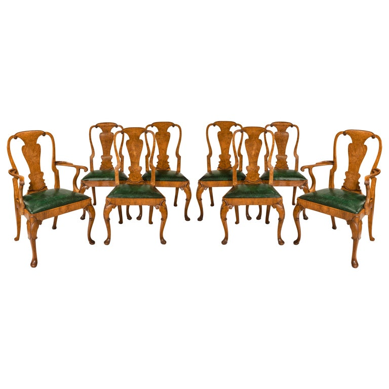 Set of Eight Queen Anne Style Walnut and Figured Elm Vase Splat Dining Chairs For Sale