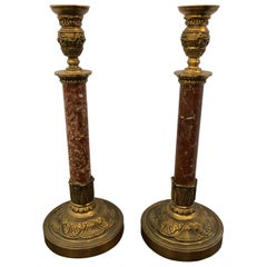 Set of Beautiful Rouge Marble and Brass Candlesticks