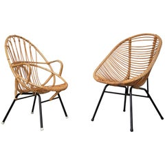 Midcentury Wicker Seats and Table Set, Dutch Design