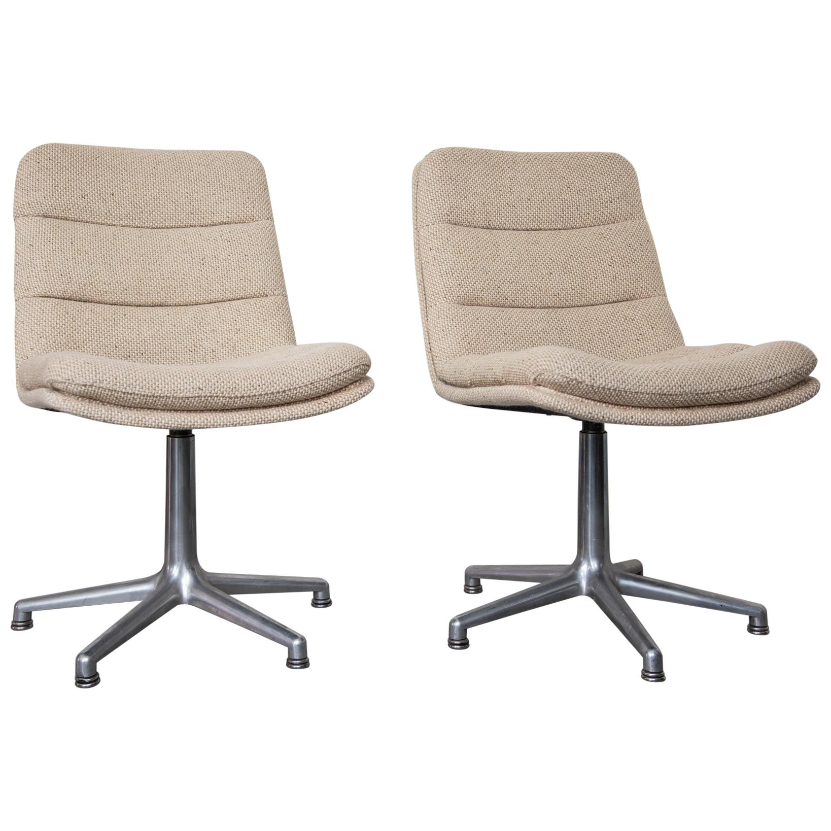 Set Of Two Swivel Desk Chairs Designed Geoffry Harcourt For Artifort