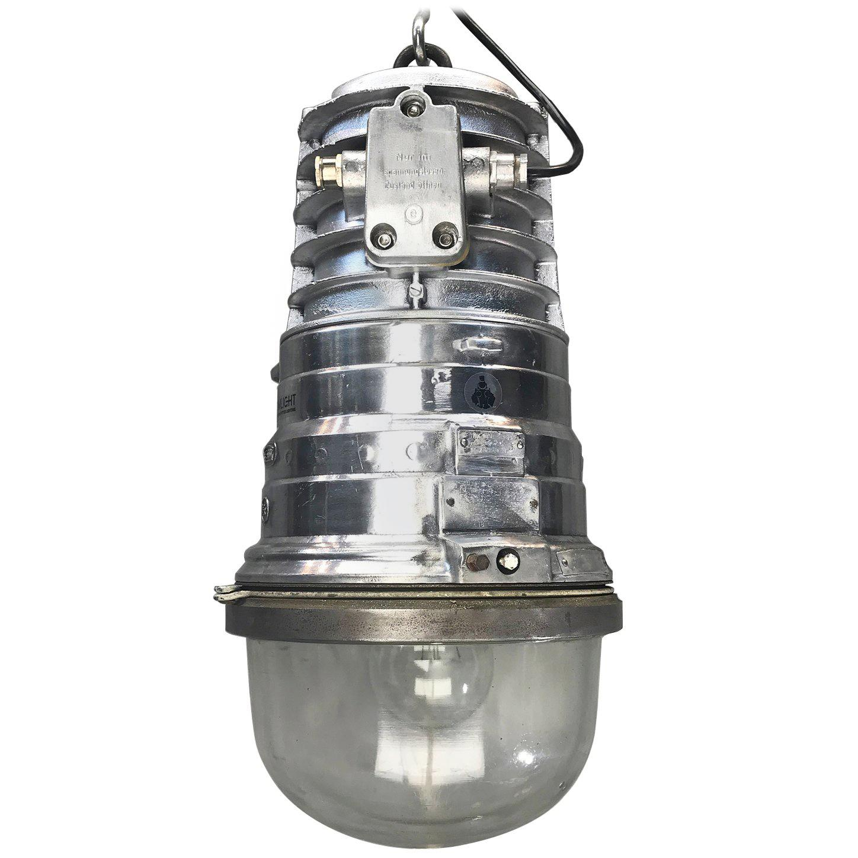 1970s, German EOW Cast Aluminium Explosion Proof Pendant Tempered Glass Dome E40