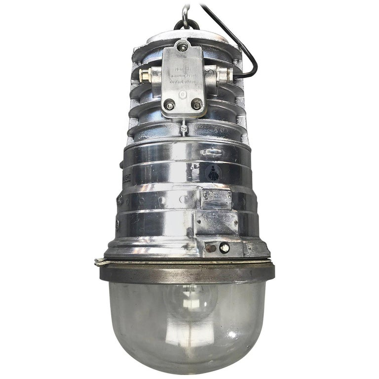 1970s, German EOW Cast Aluminium Explosion Proof Pendant Tempered Glass Dome E40 For Sale