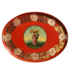 Early 19th Century Regency Period Red Tole Tray