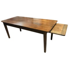 19th Century Cherry Dining Table with Bread Slide and One Drawer