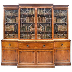 Good Quality Regency Period Mahogany Breakfronted Secretaire Library Bookcase