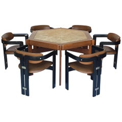 Set of Six Augusto Savini Chairs And Mid-Century Modern Table, 1965