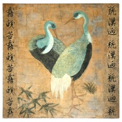 Large Striking Asian Painting of Turquoise Cranes