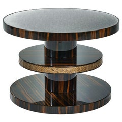 Side Table Polished Ebony Finish Decorative Insert in Mosaic Top in Vetrite