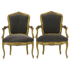 Pair of French Louis XV Style Carved Giltwood Antique Armchairs, circa 1900