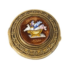 Antique Italianate Micromosaic Round Ormolu Pill Box the Pliny's Doves