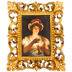 Antique Berlin KPM Porcelain Plaque Young Lady with Candle, 19th Century