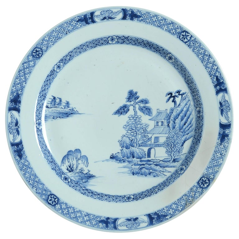 18th Century Qianlong Period Blue and White Porcelain Charger For Sale