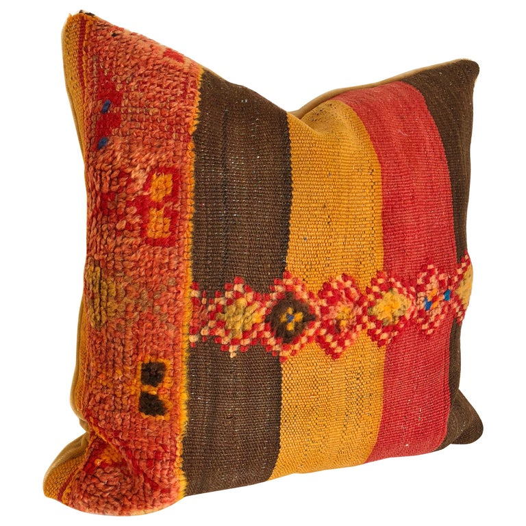 Custom Pillow by Maison Suzanne Cut from a Vintage Moroccan Wool Rug For Sale