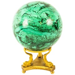 Antique Large Polished Malachite and Ormolu Sphere, 19th Century