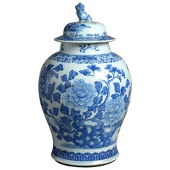 18th Century Blue and White Porcelain Vase and Cover