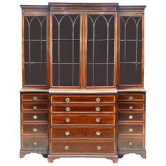 Regency Period Mahogany Breakfronted Library Bookcase, circa 1820