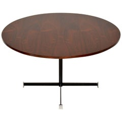 1960s Wood and Chrome Circular Dining Table