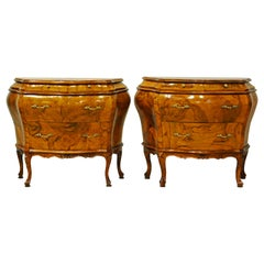 Pair of Charming Italian Rococo Style Carved Olive Wood Bombe Commodes