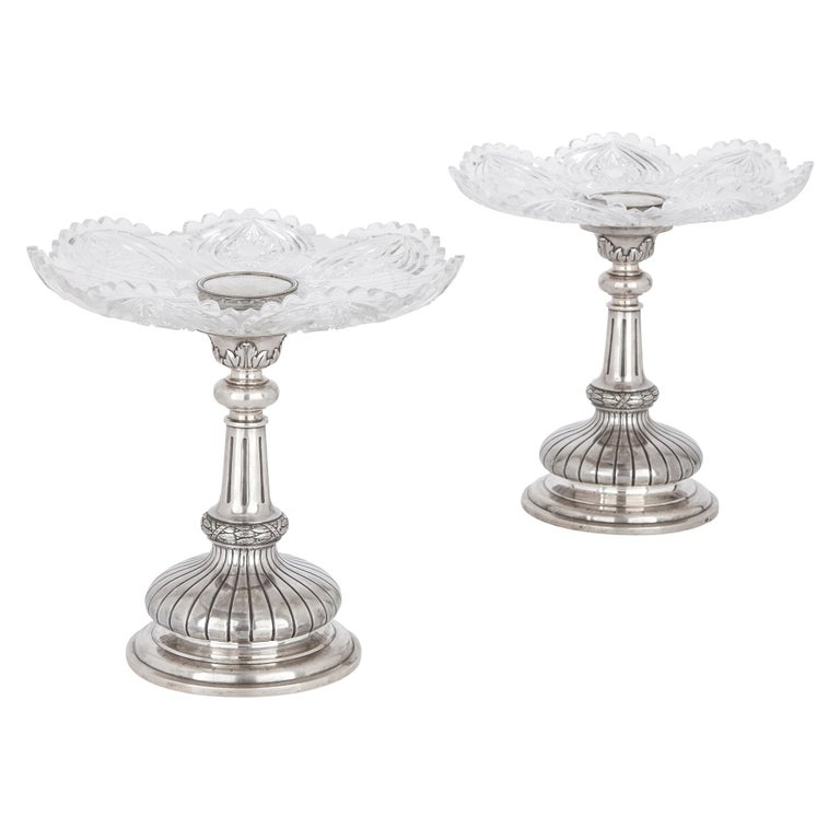 Two Russian Cut Glass and Silver Centrepiece Tazze For Sale