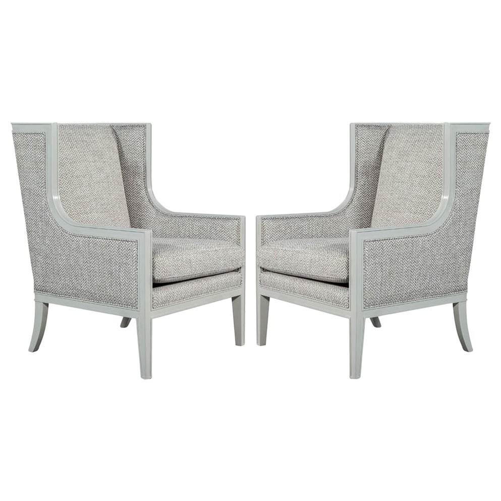 Pair of Modern Wing Chairs in Designer Grey by Carrocel