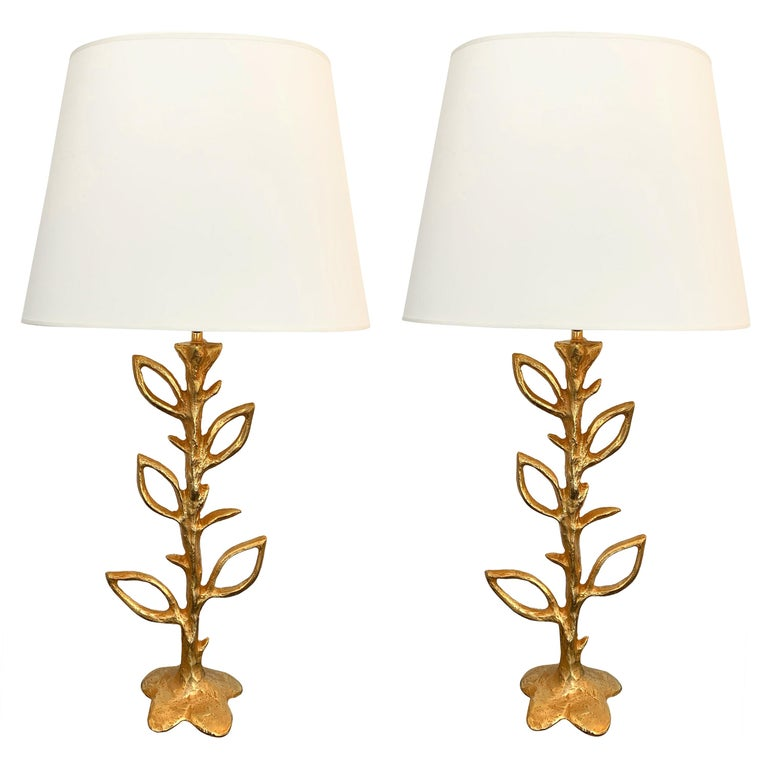 Pair of Gilt Bronze Plant Lamps by Stephane Galerneau, France, 1990s For Sale