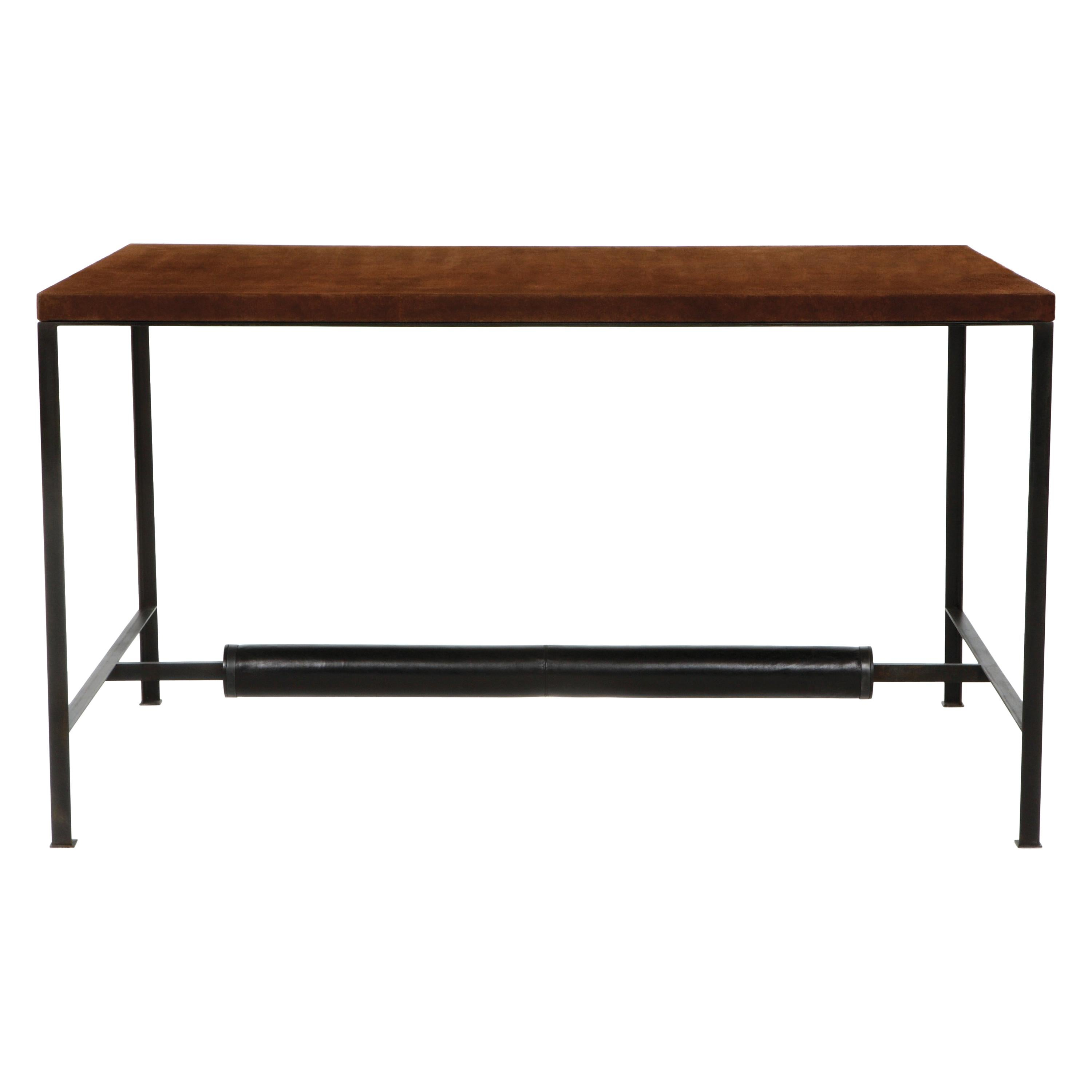 90° Leather & Metal Writing Desk, Vica designed by Annabelle Selldorf