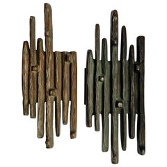 Brutalist Bronze Pair of Push and Pull Door Handles
