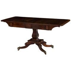 19th Century English Regency Period Inlaid Rosewood Antique Sofa Table