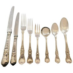 Coburg CJ Vander English Sterling Silver Flatware Set 12 Service Dinner 98 Pcs