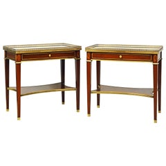 Pair of Mid-20th Century Directoire Style Mirror Top Side Tables by Grosfield's