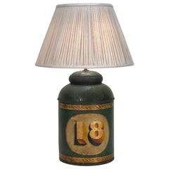Mid-19th Century English Tole Spice or Tea Canister, Now as a Lamp