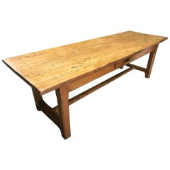 Large Pale Elm Farmhouse Table with Drawer