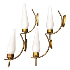 Mid-Century Modern Set of Four Brass and Glass Italian Wall Sconces, circa 1950
