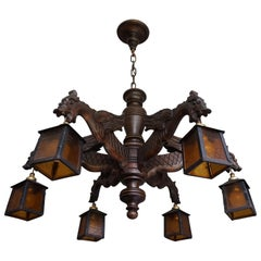 Hand Carved Chandelier in Medieval Gothic Style, Six Dragons Holding Lanterns