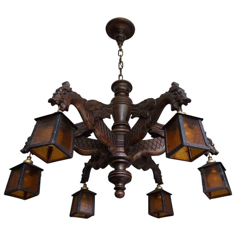 Hand Carved Chandelier in Medieval Gothic Style, Six Dragons Holding Lanterns For Sale