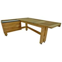 Guillerme & Chambron Solid Oak Corner Desk, Votre Maison Edition, 1950