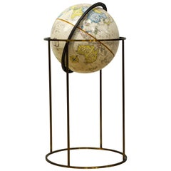 Minimalist Paul McCobb Style Replogle Terrestrial Globe on Brass Stand