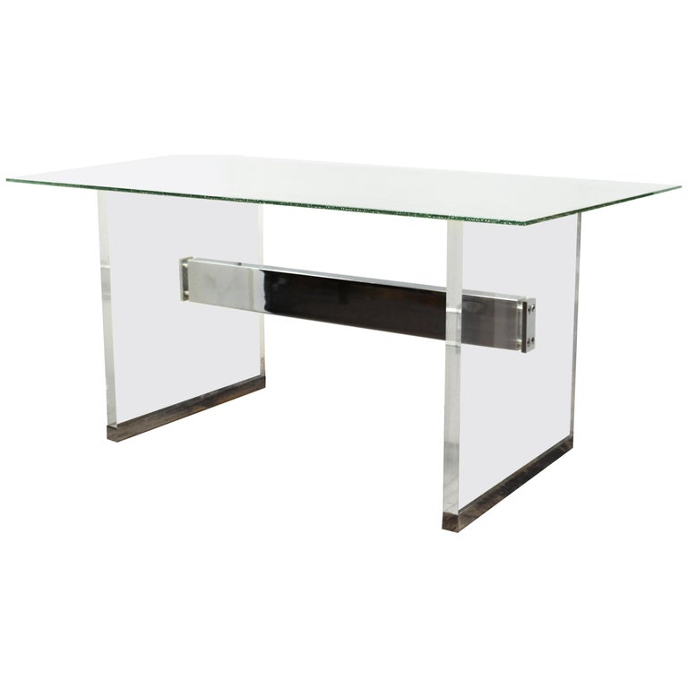 Charles Hollis Jones Mid Century Modern Lucite Base Desk With