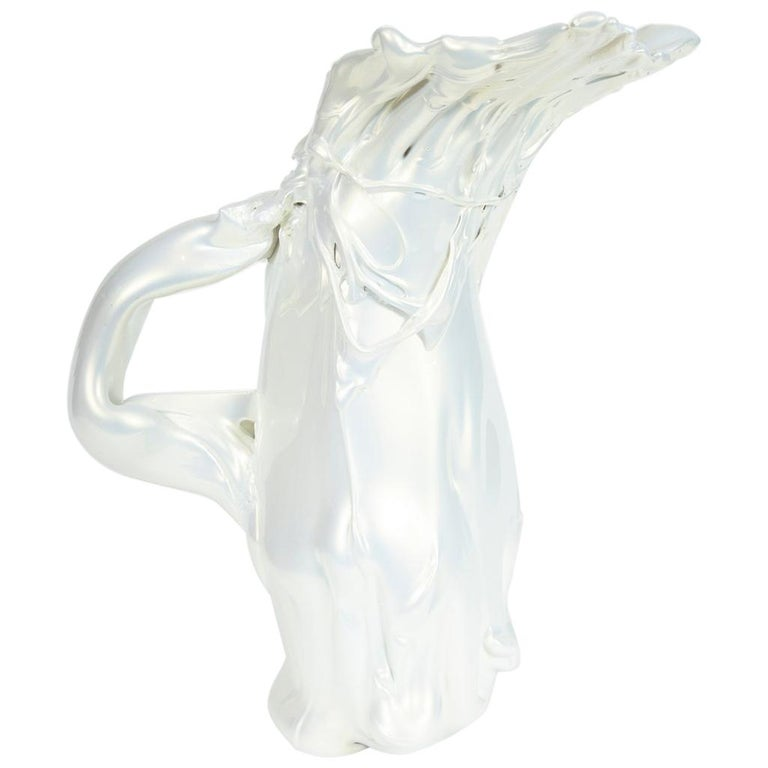 White Pearl Pitcher II Glass Sculpture by Fredrik Nielsen For Sale