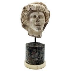 Italian White Marble Sculpture Head of Pan on Specimen Ancient Marble Pedestal