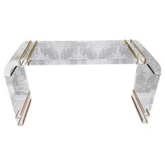High Quality Acrylic Console with Gold Brass