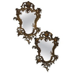 French Victorian Beveled Mirrors with Elaborate Baroque Style Bronze Frames