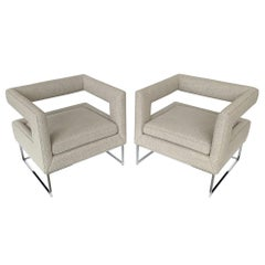 Pair of Milo Baughman Open Back Lounge Chairs