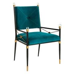 Rider Peacock Velvet Side Chair