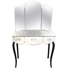 French Art Deco Mirrored Vanity with Tri-Fold Mirror and Ebonized Cabriole Legs