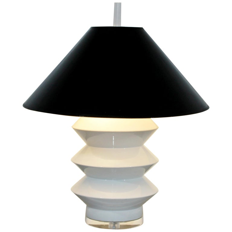 Mid-Century Modern Large White Ceramic Brass and Lucite Architectural Lamp Bauer For Sale