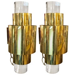 Pair of Mid-Century Modern Brass and Lucite Wall Sconces