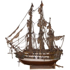 "20th Century Model of English Battleship Galleon ""H.M.S."" from the 18th Century"