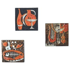 Modernist Ceramic Wall Plaques, Set of Three by Helmut Schaffenacker Late 1950s